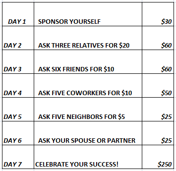 7 steps to fundraise $250 in 7 days