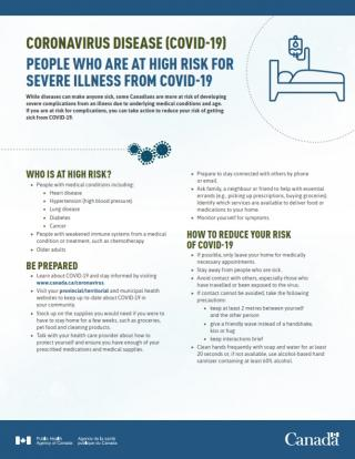 Public Health Agency of Canada resource: People who are at high risk for severe illness from COVID-19