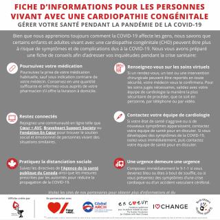 infographie regroupant des conseils sur les cardiopathies congénitales et la COVID-19