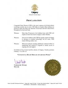 City of Calgary Proclaiming CHD Awareness Week