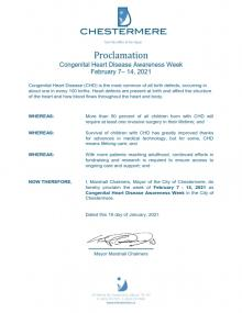 City of Chestermere Proclaiming CHD Awareness Week